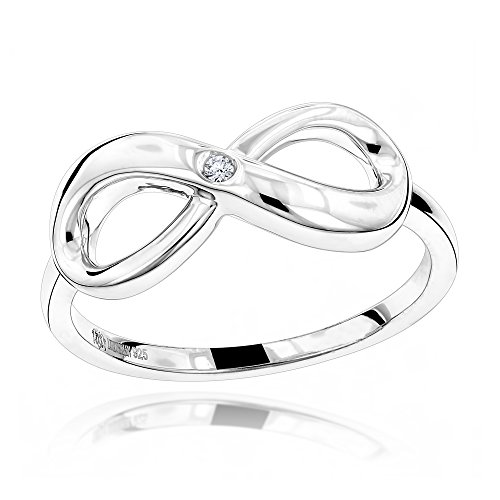 - Luxurman Love Quotes: Sterling Silver Infinity Diamond Ring For Women (size 5.5)