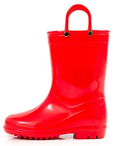 Outee Kids Girls Boys Rain Boots Toddler Waterproof Shoes Lightweight Red Solid Cute Lovely Funny with Easy-On Handles Classic Comfortable Removable Insoles (Size 13,Red)