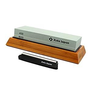 Kota Japan Premium Whetstone. Natural Knife Sharpening Stone VALUE BUNDLE Kit. ENJOYABLE, Smooth, EFFORTLESS. Bamboo Base, Utmost SAFETY, Superior QUALITY, Perfect GIFT!! (400-1000)