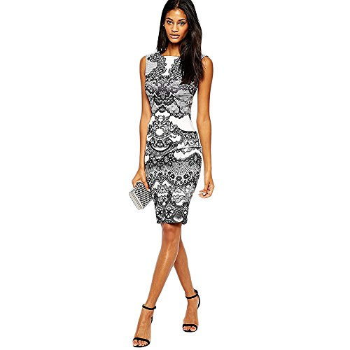 Misaky Flower Vintage Print Elegant Silm Pencil Sleeveless Dress (M)