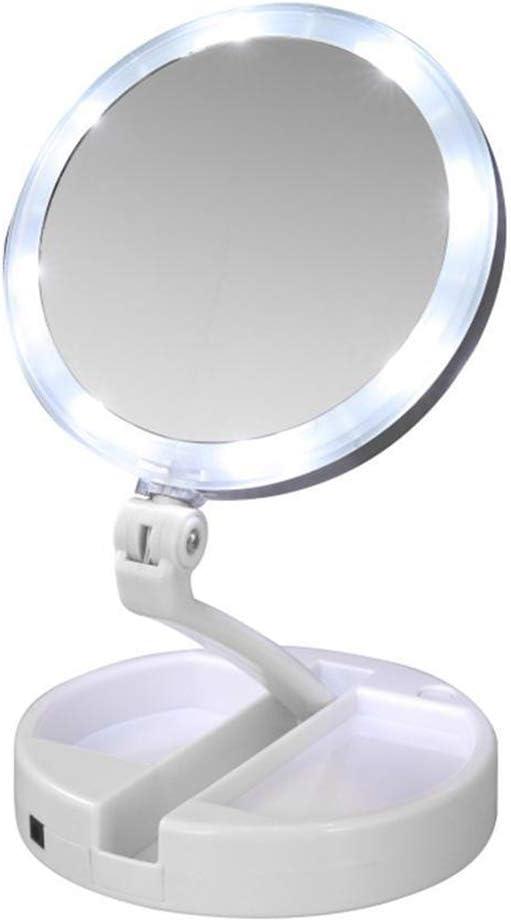 Miroir cosm/étique Portable Lionina Miroir grossissant grossissant 10 x Rechargeable par USB Pliable avec lumi/ères LED Super Lumineuses