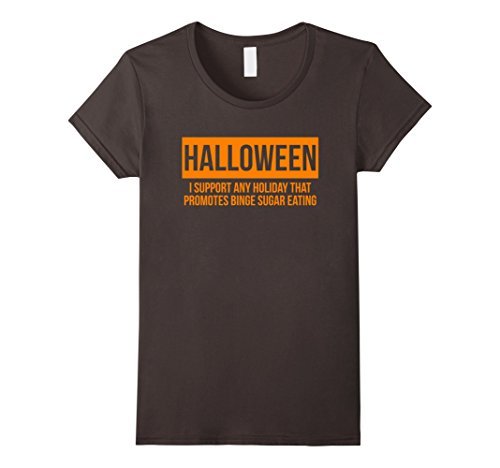 Womens I Support Any Holiday - Funny Halloween T-shirts for Adults XL Asphalt