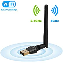1200Mbps Wireless USB Wifi Adapter, FayTun USB Wifi Adapter,AC1200 Dual Band 2.4GHz/300Mbps+5GHz/867Mbps,802.11 ac/a/b/g/n High Gain Antenna Network Lan Card Support Windows XP/7/8/10,MAC,OSX/Linux