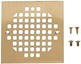 Jones Stephens C60813 Polished Brass Square Strainer, 4-1/4 X 4-1/4-Inch