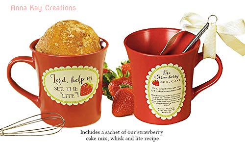 Lord, Help Us See The Lite, Cake Mug with Whisk and Lite Recipe Boxed with (1) Strawberry Cake Mix Pouch Bundle