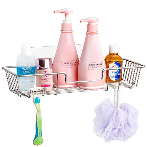 SANNO Adhesive Shower Caddy with Hooks,Bath Shelf Storage Combo Organizer Basket, Kitchen & Bathroom Accessories for Shampoo Conditioner,No Drilling Wall Mounted - Rustproof Stainless Steel ()