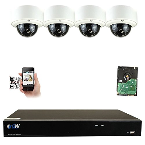 GW Security 8CH 4K NVR IP Security Camera System – 4 x HD 5.0 Megapixel (1920P/1080P) 2.8~12mm Varifocal Zoom 80ft IR PoE IP Dome Camera + 2TB Hard Drive – Support ONVIF Quick QR Code Remote Access