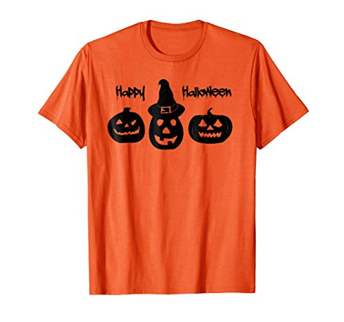 Trio of Pumpkins - Happy Halloween Orange T-Shirt -