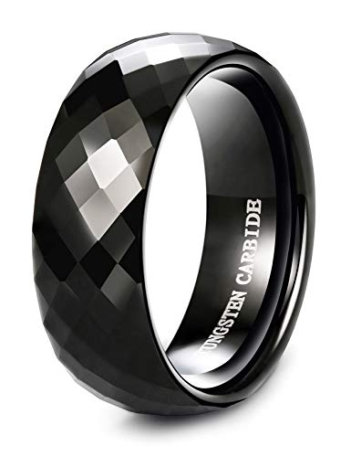 Tungary 8MM Black Diamond Faceted Tungsten Ring Men Wedding Band Promise Ring High-Polish Finish Size 11