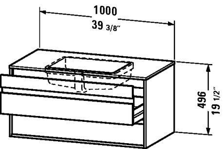 Vanity unit wall-mounted, 2 drawers, 21 5/8ô x 39 3/8ô, White Matt