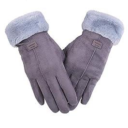 Zeltauto Women's Touch Screen Gloves Full Finger Plush Lining
