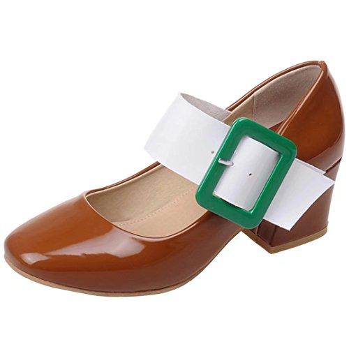 AIYOUMEI Escarpins Femme Talons 5 cm Bride Cheville Chaussure Cuir Vernis Bout Rond Simple en Mode Brown qgV37EGy