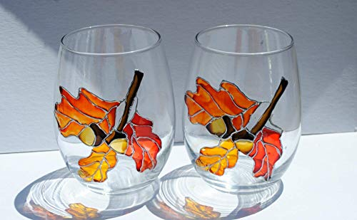 Orange Autumn Oak Leaves & Acorns Hand Painted (Set of 2) Stemless Wine Glasses Fall Home Decor