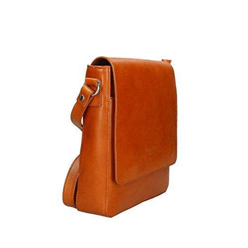 Aren para Cuero Italy Bag Cm genuina Hombro Hombre in Shoulder Bolso de Piel de Made 25x28x7 rxXZwrfT