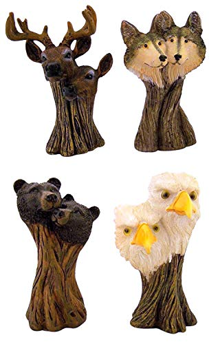 Everspring Imports Rustic Eagle Bear Deer Wolf Couple Collectible Resin Figurine, Set of 4, 4 3/4 Inch