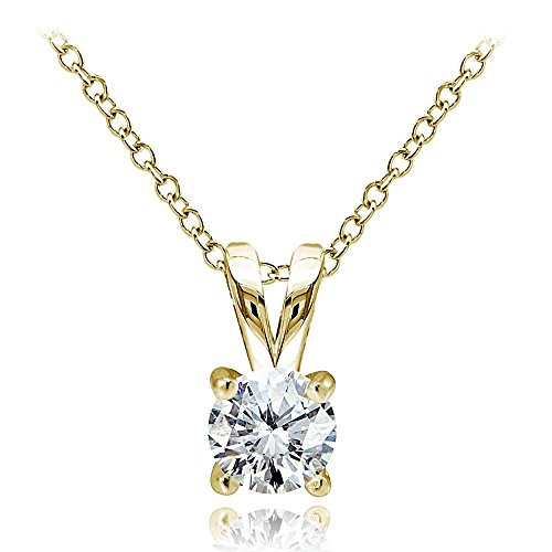 (Hoops & Loops Yellow Gold Flash Over Sterling Silver 1/2ct Cubic Zirconia 5mm Round Solitaire Necklace)