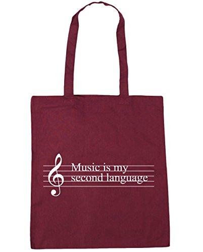 HippoWarehouse música es mi segunda lengua Tote Compras Bolsa de playa 42cm x38cm, 10litros, natural (beige) - 21403-TOTE-Natural granate