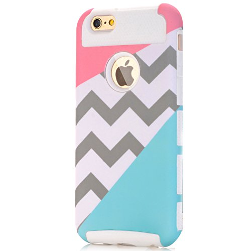 iPhone 5 Case,iPhone 5S Case,LUOLNH [2in1] Heavy Duty Hybrid Hard Case for Apple Iphone 5/5s ,Blue Mint Teal and Coral Pink Split Chevron Design Cover(White)