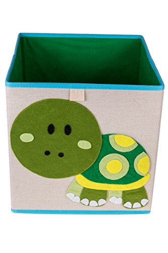 Clever Creations Cute Turtle Collapsible Storage Organizer Folding Storage Cube for Bedroom & Living Room | Perfect Size Storage Cube for Books, Clothes, Electronics, or Gadgets