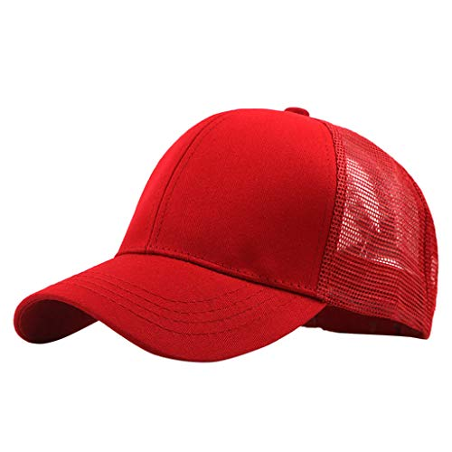 Ponytail Messy Buns Trucker Plain Baseball Visor Cap Unisex Hat Occasional Organza Sun Hat Red]()
