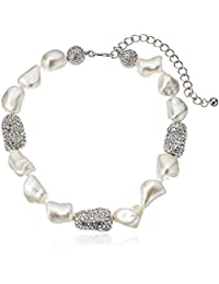 """Pearl and Rhodium Pave Bead Necklace, 13"""""""