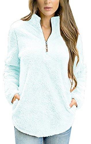 Demetory Women's 1/4 Zipper Plush Fluffy Long Sleeve Fuzzy Polar Fleece Pullover Sky Blue Medium ()