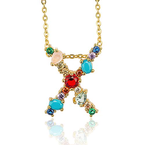 Balalei Gold Color Initial Multicolor CZ Necklace Personalized Letter Necklace Name Jewelry for Women Accessories Girlfriend Gift