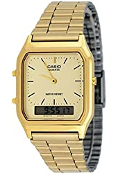 New Casio AQ230GA-9D Digital Analog Dual Time Metal Watch Multi Alarm Auto Calendar Water Resistant