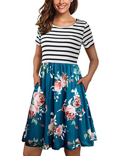 FANVOOK Scoop Neck Dress, School Girl Little Summer Floral Dress Dresses with Pockets Cyan L