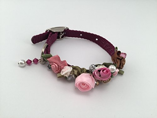 Purple 10 Inch Nylon Dog Collar Embellished With Pink and Peach Silk Rosettes, Pearls, Beads and a Swarovski Crystal Chain.