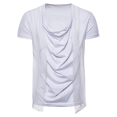(Chest Pocket T Shirts,Men Vintage Breathable Thin Solid Loose Mesh Casual Short-Sleeved Top)
