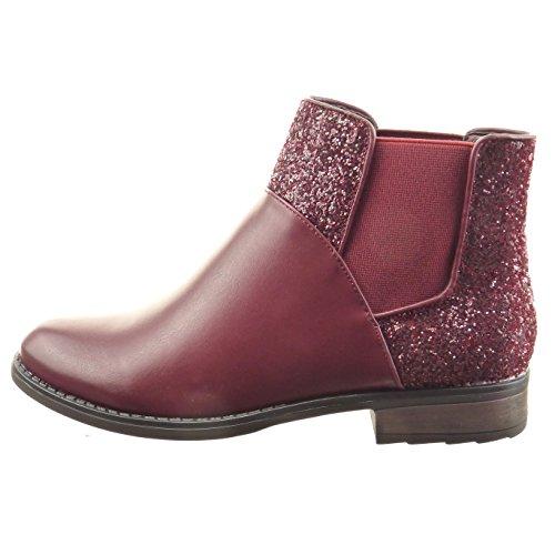 Sopily - Scarpe Da Donna Di Moda Stivaletti Chelsea Boots Da Equitazione - Kavalier Glitter Lucido - Rosso