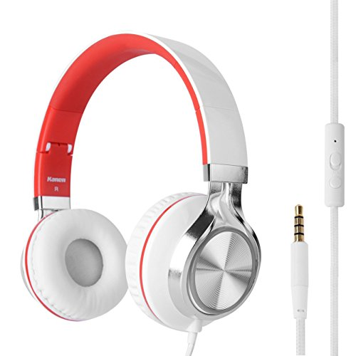 Kanen Over Ear Stereo Folding Headphones Headset with In-Line Microphone, Adjustable, Noise Isolating for Computer Laptop Android Samsung Phones Tablets MP3 DVD (White/Red)