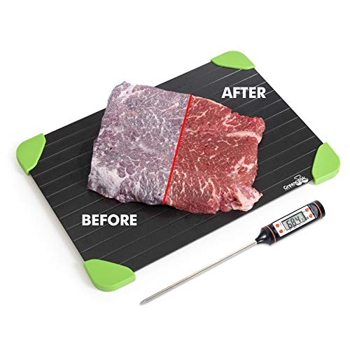 Premium Defrosting Tray with Bonus Digital Food Thermometer- The Safest Fastest and Easiest way to Thaw Frozen Meat, Chicken, and Fish Quickly Without the Use of Hot Water,Electricity, or Microwave- ()