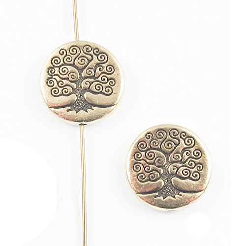 TierraCast Double-Sided Pewter Puffed Coin Beads-Gold Tree Of Life 15mm (2 Pcs) (Puffed Beads Coin)