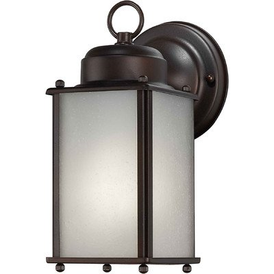 Forte Lighting 10007-01-32 Traditional 1-Light CFL Exterior Wall Mount, Antique Bronze Finish with Frosted Seeded Glass