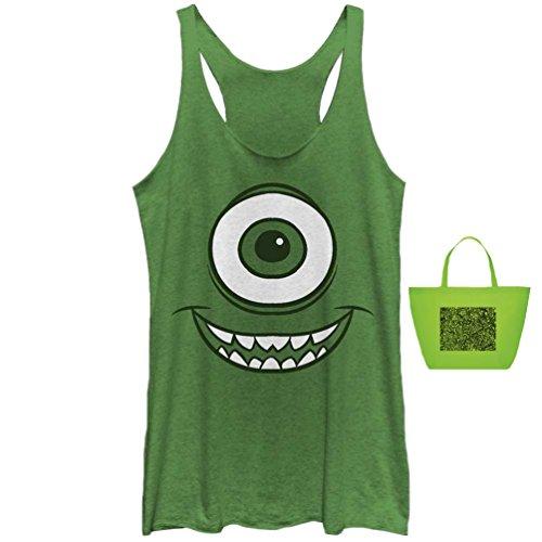 Monsters Inc. Mike Wazowski Face Junior Womens' Tank & Gift Bag-2 Piece Gift Set (Medium)