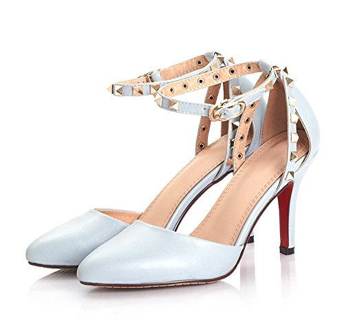 AllhqFashion Womens Pointed Closed Toe Buckle PU Solid Spikes Stilettos Pumps Shoes Blue YcTAalUAA