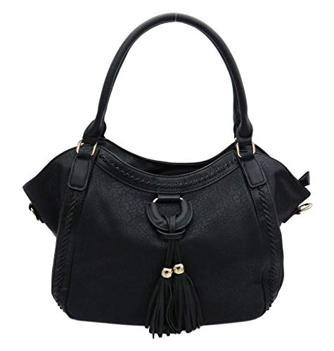Lucky Charm Vintage Handbags for Men and Women PU Leather Hobo Style Tote Shoulder Bag (Black)