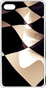 Wavy Black & White Checkered Flag White Plastic Case for Apple iPhone 4 or iPhone 4s