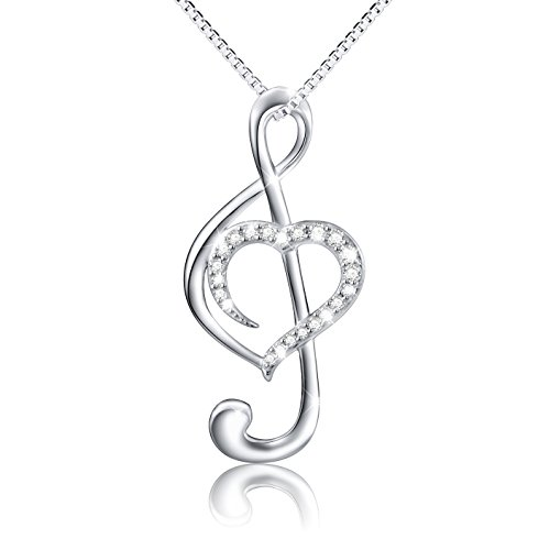 (Musical Note Necklace Pendant) 925 Sterling Silver CZ Jewelry for Women, Box Chain 18