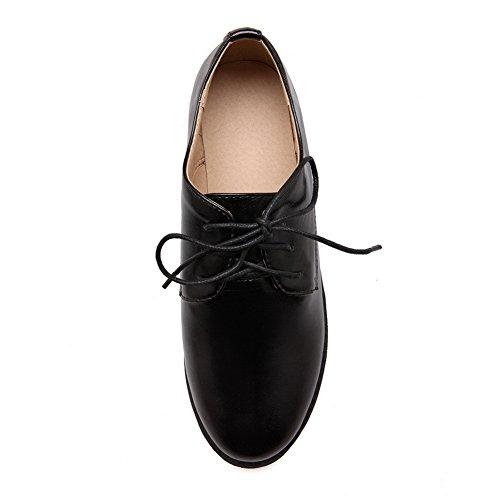 AdeeSu Ladies Round-Toe Bandage Square Heels Urethane Oxfords Shoes Black 95solMY5
