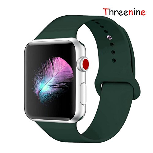 Threenine Watch Band, Durable Soft Silicone Compatible Watch Strap Replacement Sport Band Watch Band Series 4 Series 3 Series 2 Series 1 Sport, Edition (Olive green-01, 40mm(38mm) S/M)
