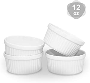 KitchenTour Porcelain Souffle Dishes 12 Ounces Ramekins for Baking Souffle, Creme Brulee - Set of 4