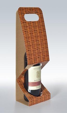10 Stück 1er-X-Line Tragekarton Korbgeflecht, Tragetasche, Weinkarton, Flaschenkarton, Weinverpackung weinkarton24.de