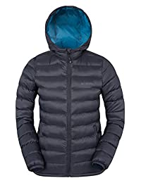 Mountain Warehouse Seasons Women's Padded Jacket - Water-Resistant, 2 Front Pockets with Cuffs & Hood - Perfect for walking Black 8