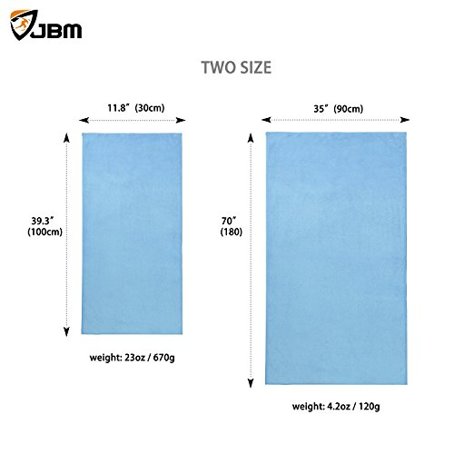 JBM Yoga Towel Sports Towel Microfiber Absorbent Non Slip Anti Bacterial Ultralight Soft for Hot Yin Bikram Hatha Yoga Exercises Gym Fitness - Blue Gray Purple Rose Green (2 Sizes)