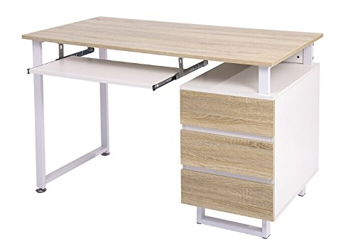 Merax Modern Simple Design Computer Desk Table Workstation (White and Oak with Cabinet) (Oak Computer Table)