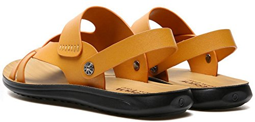 Vocni Mens Casual Outdoor Adult PU Leather Beach Comfort Summer Fashion Shoes Sandals Yellow v7COmqz