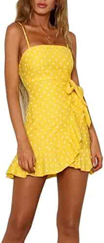d7f71365856 YiKeZhiXiu Women s Summer Floral Print Deep V Neck Backless Spaghetti Strap  Mini Beach Dress with Lining